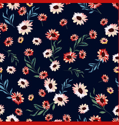 Floral seamless pattern with flowers on dark blue vector