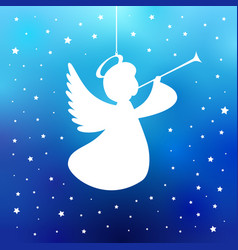 Flying angel with trumpet vector