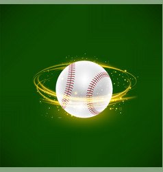 Flying baseball ball with yellow sparkles on green vector