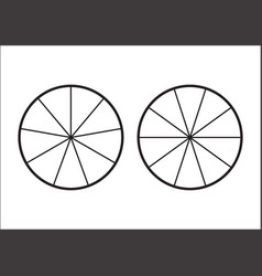 fraction pie divided into slices fractions vector image