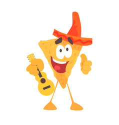 Funny cartoon mexican nachos chip character vector