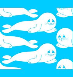 fur seal white pattern small sea calf ornament vector image