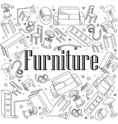 Furniture coloring book vector image