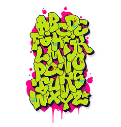 Graffiti comic alphabet font vector