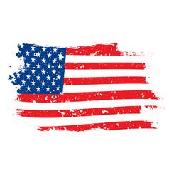 grunge flag usa on white background vector image