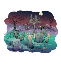 halloween old castle vector image