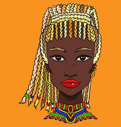 hand drawn doodle girl on orange background vector image