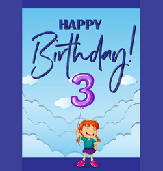 Happy birthday card for three years old vector