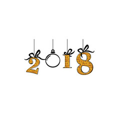 happy new 2018 banner with gold numbers and vector image