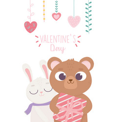 happy valentines day cute bear with gift and vector image