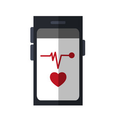 Heart rate monitor on cellphone screen icon image vector