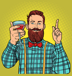 Hipster with a glass of red wine vector