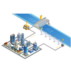 Hydroelectric Station Isometric Poster vector