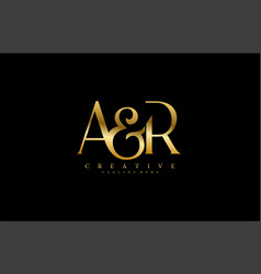 Initial letter ar gold logo design vector