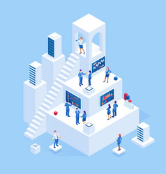 isometric business people analyzing a financial vector image
