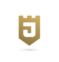 letter j shield logo icon design template elements vector image