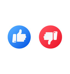 like and dislike icons isolated blue and red hand vector image
