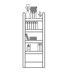 Line education bookcase with folders document vector
