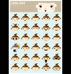 Little girl emoji icons vector