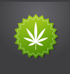 marijuana leaf sticker cbd oil label thc free icon vector image
