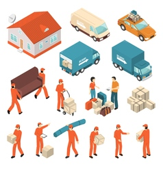 Moving Company Service Isometric Icons Set vector