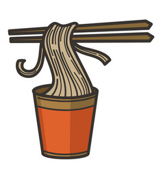 Noodles in cup with chopsticks chinese vector