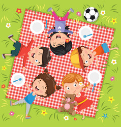 of children in picnic vector image