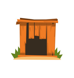 Old shabby wooden doghouse on vector