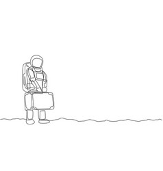 One continuous line drawing young happy astronaut vector