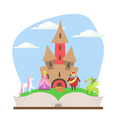 opened book with magic fairytale castle prince vector image