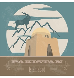 Pakistan landmarks Retro styled image vector image