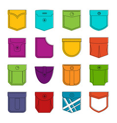 pocket types icons doodle set vector image