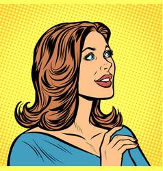 pop art beautiful woman in profile vector image