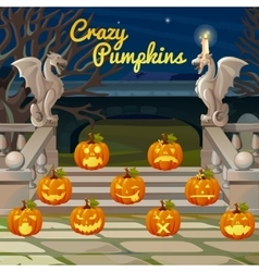 Porch with stone figures of dragons and pumpkins vector image