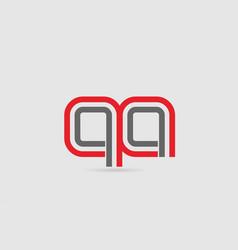 Red grey alphabet letter logo combination qa q a vector
