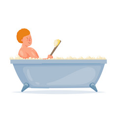 Red hair boy take a bath with handle soft brush vector