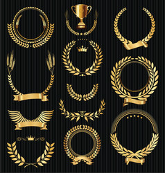 Retro vintage golden laurel wreaths collection vector