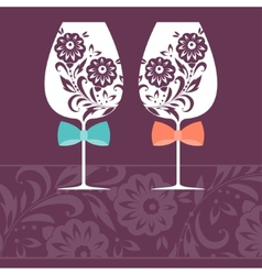 Romantic card with two glasses vector image