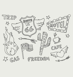 route 66 sketch set symbol and sticker vector image