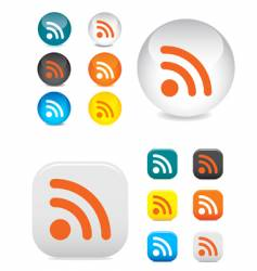 RSS buttons and symbols vector image vector image