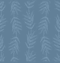 seamless pattern with vertical stripes of leaves vector image