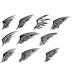 set black tribal wing tattoos vector image