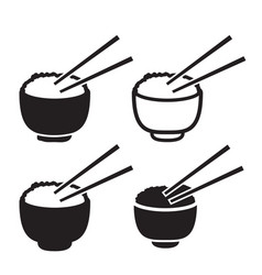 Set bowl rice with pair chopsticks icon vector