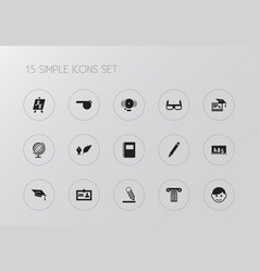 set of 15 editable teach icons includes symbols vector image