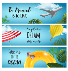 set of horisontal summer travel banners vector image