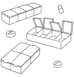 set of pill box vector image