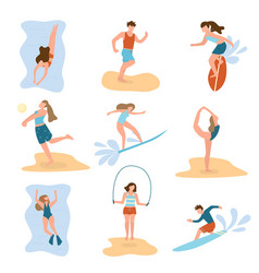 set people character practic different beach vector image