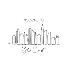 Single continuous line drawing gold coast city vector