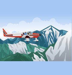 small airplane flying across the mountains vector image