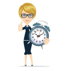 smiling cartoon businesswoman with alarm clocks vector image